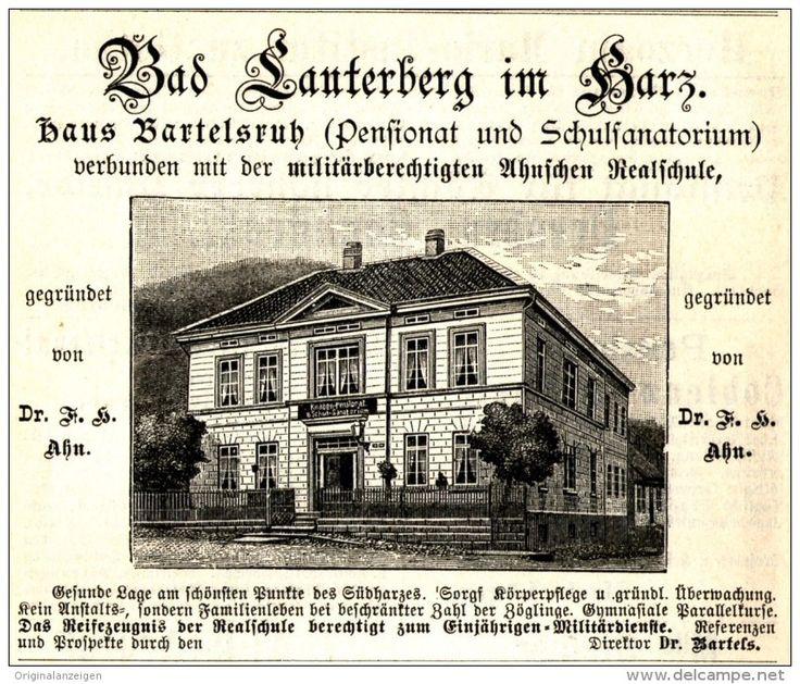 Original-Werbung/ Anzeige 1896 - BAD LAUTERBERG IM HARZ / HAUS BARTELSRUH - ca. 100 x 80 mm