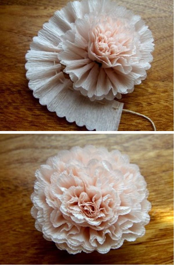 Crepe paper flower. What a great wedding reception idea.