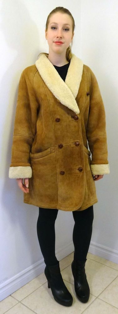 Danier Vtg 80 s Women s Shearling Real Sheepskin Coat Jacket Size