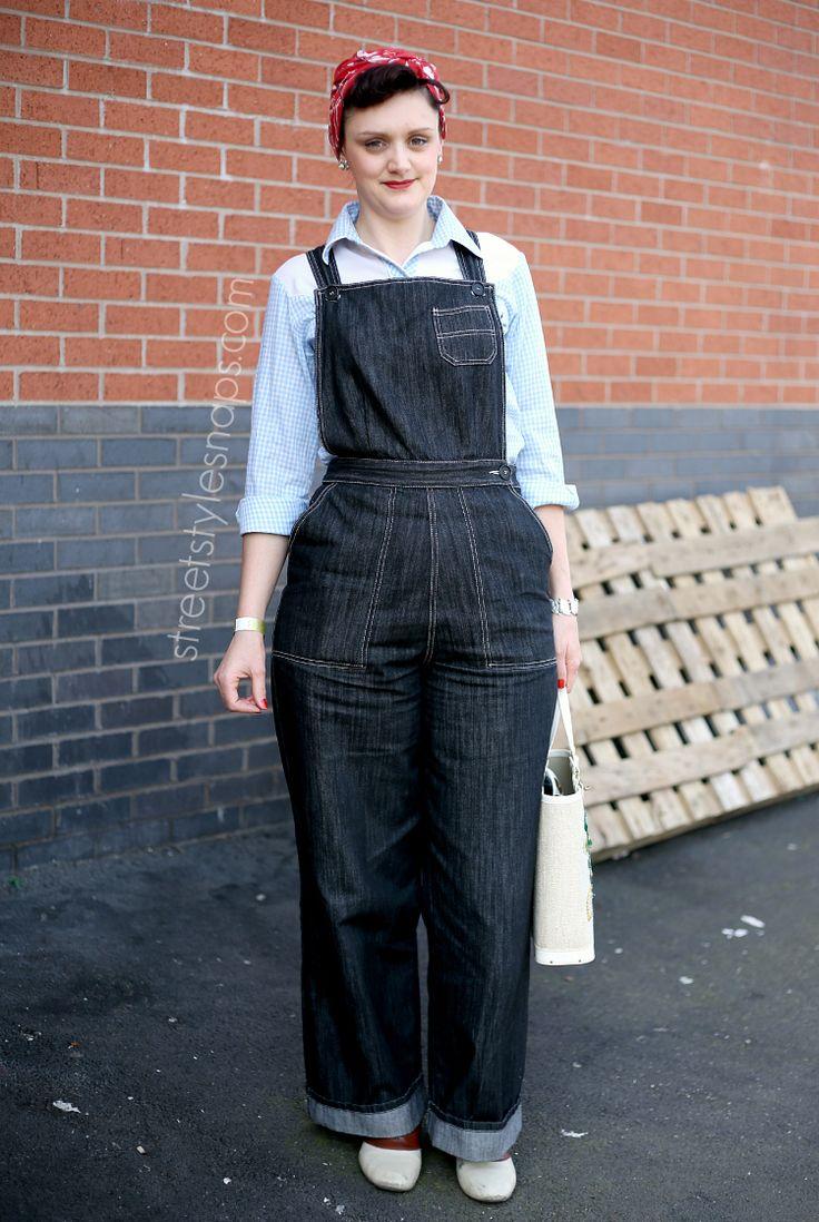 Land Girl Fashion Denim Dungarees Head Scarf Vintage ...
