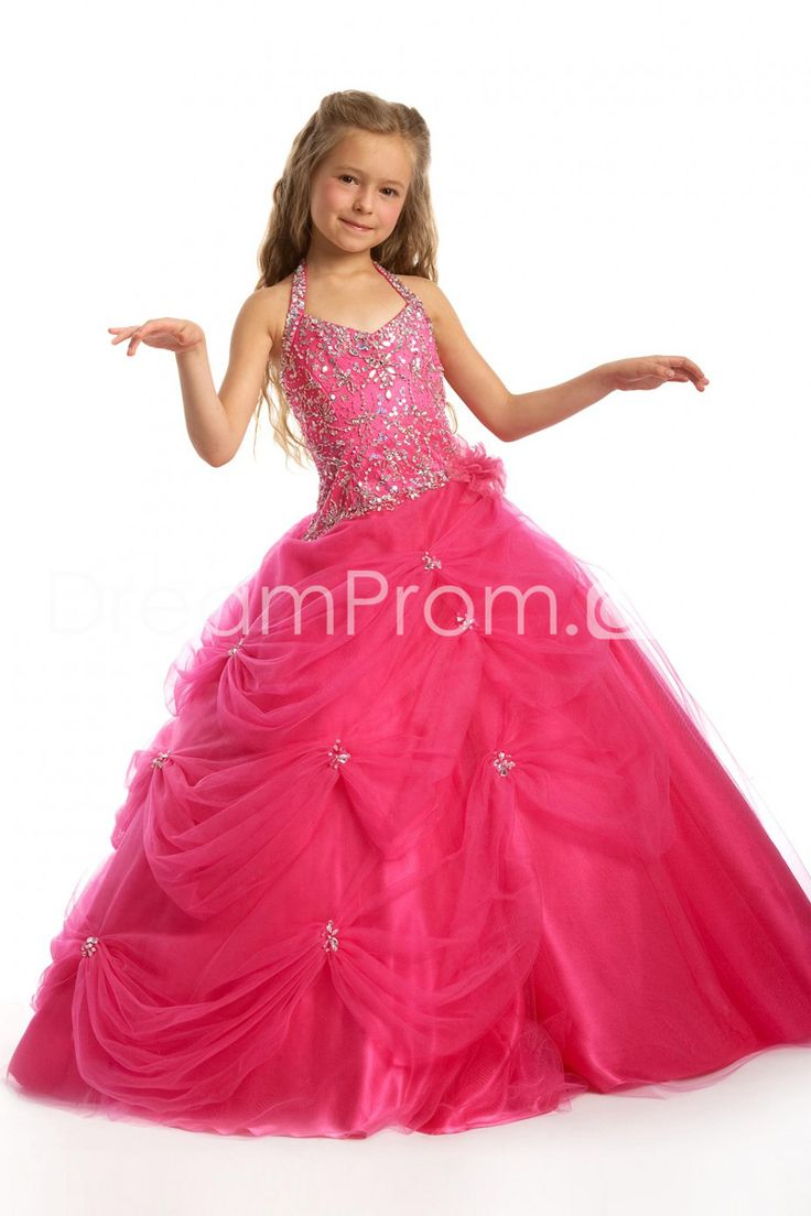 Pretty+Ball+Gown+Halter+Floor-Length+Sequins+Flower+Girl+Dress
