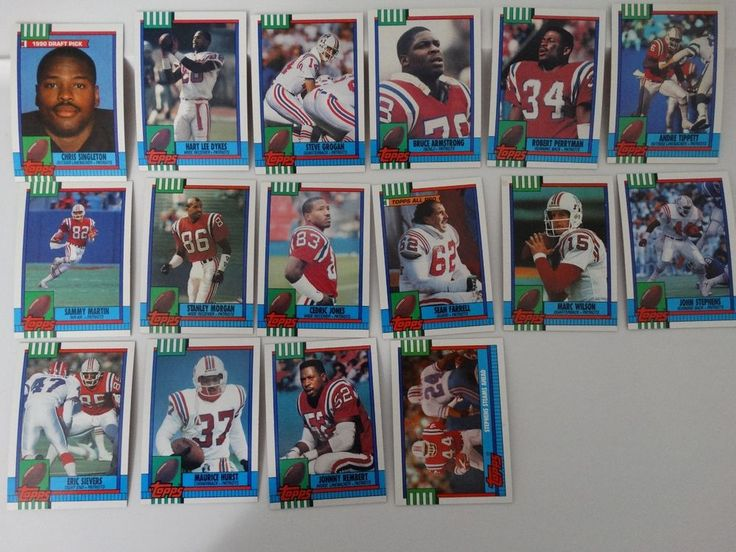 1990 Topps New England Patriots Team Set of 16 Football Cards #NewEnglandPatriots
