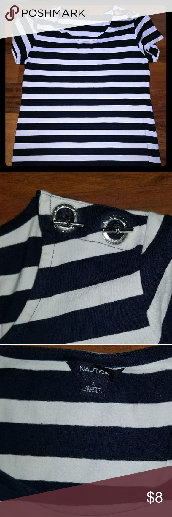 Nautica women's top Stretch, blue and white striped shirt with silver nautical details on the shoulders. Like new condition. Nautica Tops Blouses