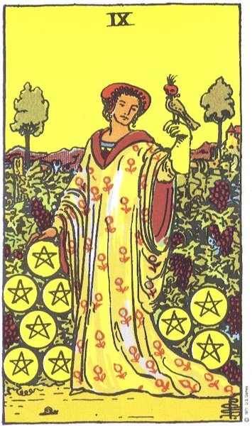 In our blog on Mark Zuckberg's marriage, we pulled the 9 of Pentacles as the card representing the future of the marriage.