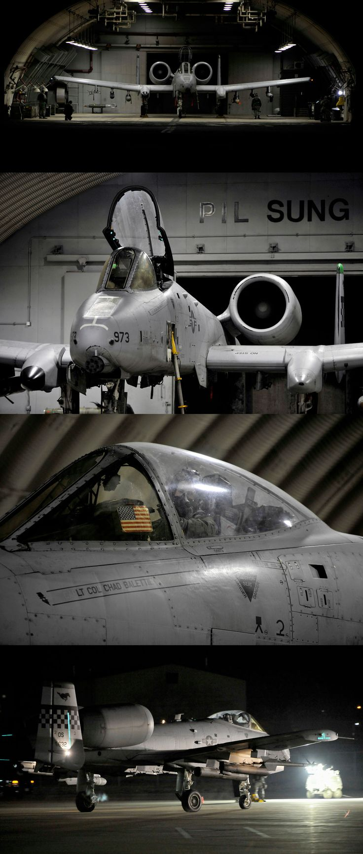 An A-10 Thunderbolt II sits in a hangar prior to launching for the first sortie of Beverly Midnight 14-02 at Osan Air Base, Republic of Korea, Feb. 10, 2014. Exercises like BM 14-02 test Airmen on their ability to operate and accomplish the mission during war-time contingency operations. (U.S. Air Force photo/Senior Airman Siuta B. Ika)