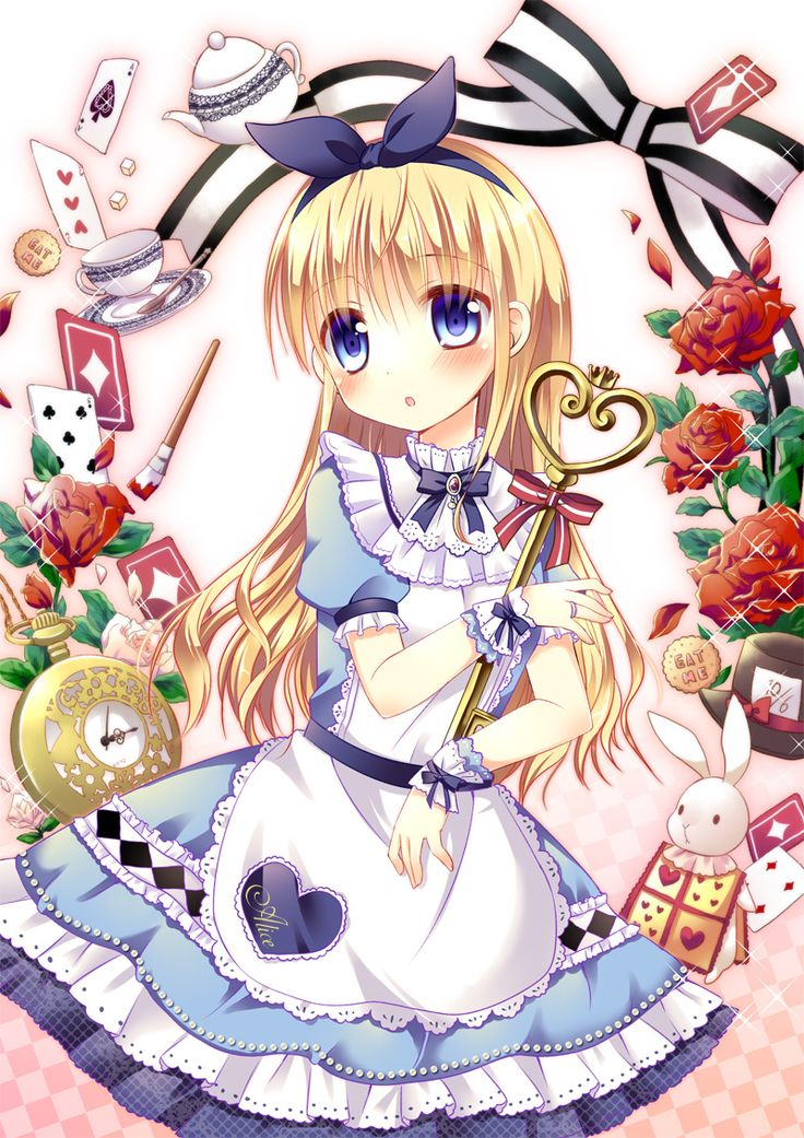 ✮ ANIME ART ✮ Alice in Wonderland. . .Alice. . .White Rabbit. . .pocket watch. . .playing cards. . .tea cup. . .ribbons. . .apron. . .hair bow. . .long hair. . .lace. . .key. ..cute. . .moe. . .kawaii