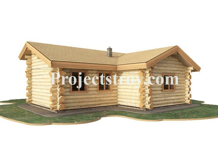 Визуализация проектов деревянных домов. Проект для ценителей-любителей одноэтажных деревянных домов. Дом - дикий сруб из рубленого бревна среднего диаметра 300 мм. Размер дома 12.5х12.8 м.  Дом проработан под стеновой комплект в 6 метров.  Характеристики деревянного дома:  - кухня-гостиная - 35 кв. м; - две спальни - 22 кв. м; - санузел - 5.9 кв. м; - котельная- тамбур. Проект возможно проработать под ОЦБ бревно.