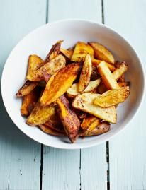 Smoky mixed-potato wedges With just a splash of oil and a pinch of seasoning and spice