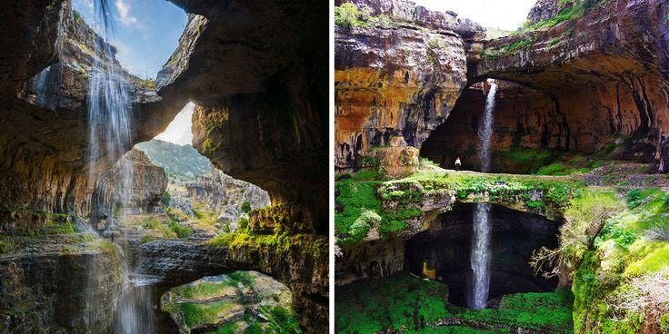 """These epic cave bridges aren't from some fantastic movie set – they're part of a real limestone cave. The Baatara Gorge Waterfall, or """"Three Bridge Chasm,"""" in Tannourine, Lebanon was carved out of ancient limestone over millions of years by winter meltwater."""