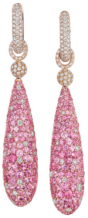 A Pair of Pink Sapphire and Diamond Ear Pendants. Each suspending a pavé-set pink sapphire bombé drop, accented by pavé-set diamonds, from a pavé-set diamond oval link and pavé-set diamond hoop surmount, mounted in 18K pink gold, length 4 1/2 inches, pendant is detachable. Via Philips.