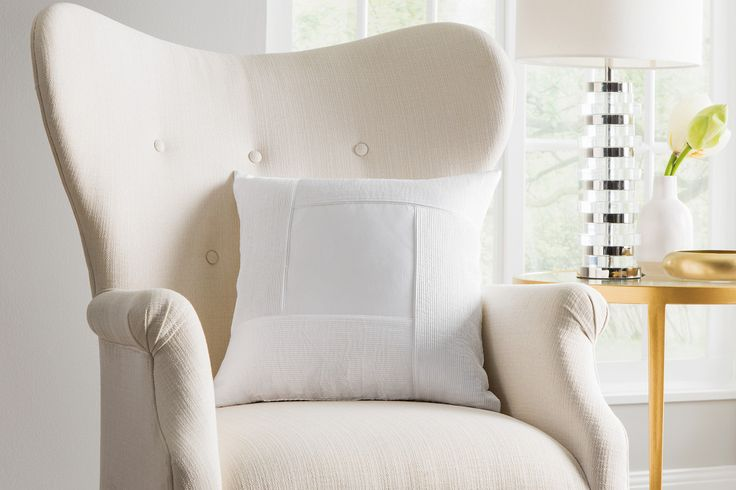 Sheridan Martens Cushion - White  Texture created by rows of small pintucks forms a frame in this intricate design. Created using 400 thread count, 100% cotton sateen, the cushion has a luxurious sheen and hand feel.