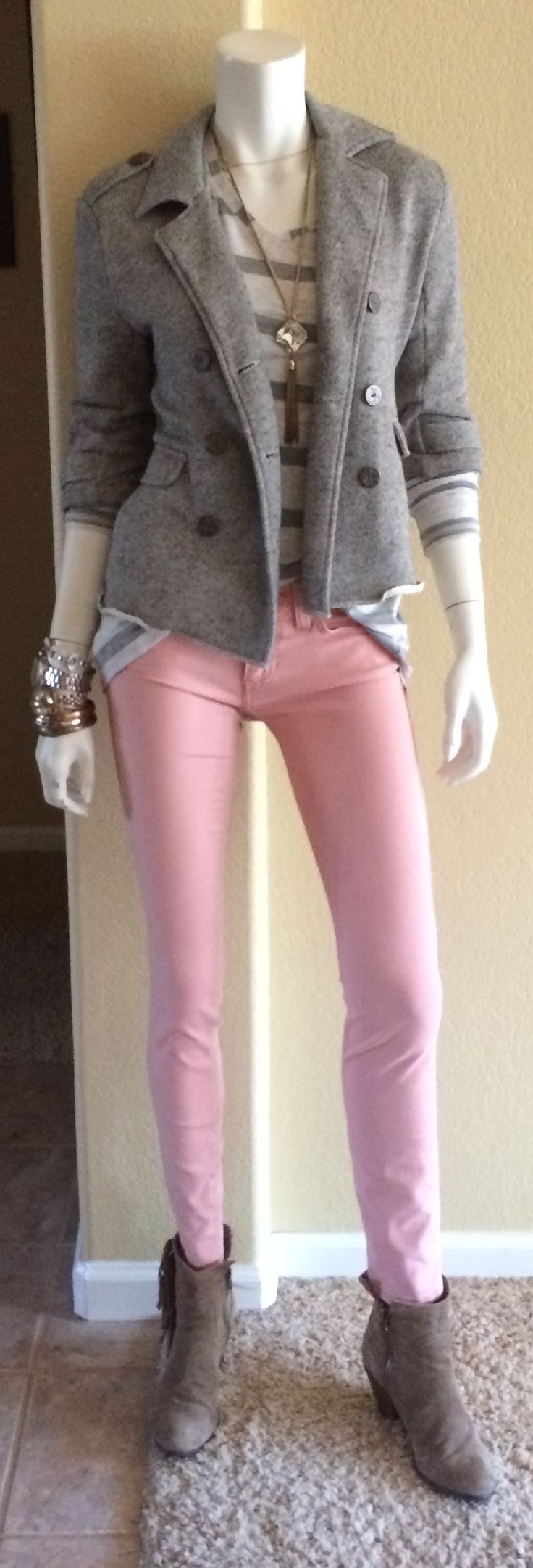 Daily Look: CAbi Spring '15 Nectar Skinny Jean with Fall's Striped Tee and our vintage Shrunken Pea Coat.  #CAbiClothing