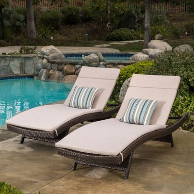 carlsbad brown wicker chaise lounge with textured cushion set of 2 rh pinterest com