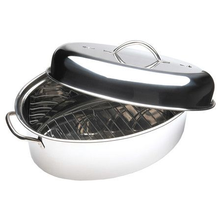 Prepare a Sunday chicken or pork tenderloin in this stainless steel roaster, featuring an internal rack and high-domed lid.  Product...