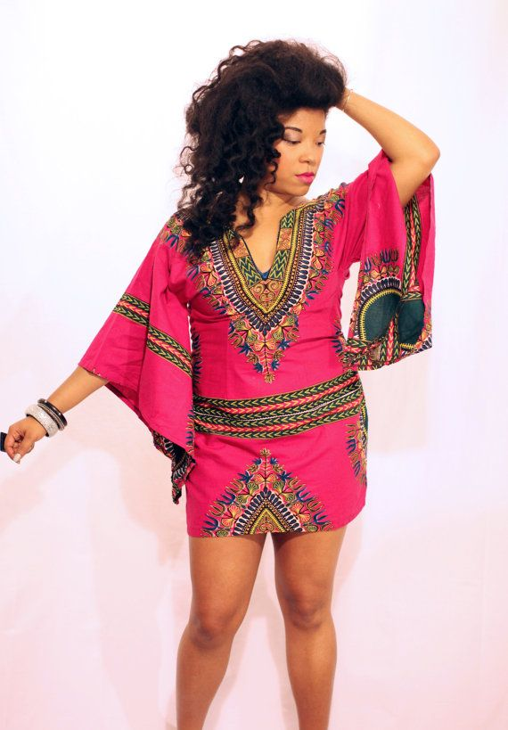 Pink Daiquiri Dashiki Dress on Etsy, $90.00 CAD