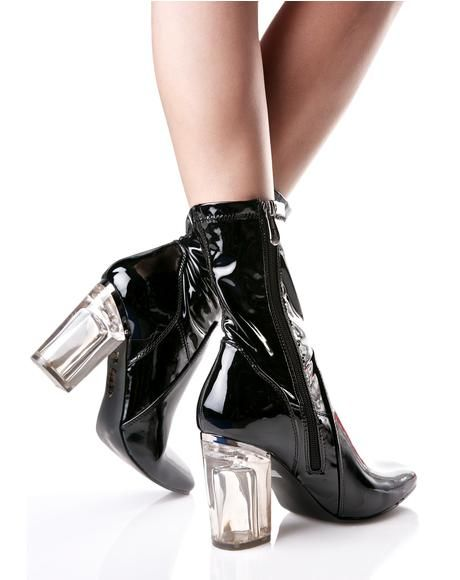 #DollsKill #boots #ankleboots #shoes #patent #black #clearheel