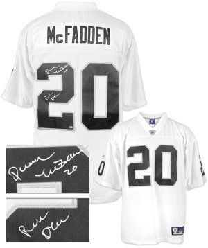 """Darren McFadden signed Oakland Raiders White Reebok Premier EQT Jersey Run DMC- McFadden Hologram . $283.86. Darren McFadden was drafted fourth overall by the Oakland Raiders in the 2008 NFL Draft. He signed a contract worth $60 million with the Raiders, including $26 million in guaranteed money. Darren McFadden has hand autographed this Oakland Raiders White Reebok Premier EQT Jersey with """"Run DMC"""" inscription. McFadden Hologram and Certificate of Authenticity from Athlon Sports."""