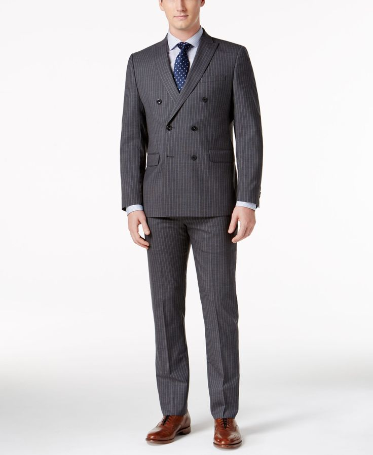 Michael Michael Kors Men's Classic-Fit Double-Breasted Gray/Blue Pinstripe Suit