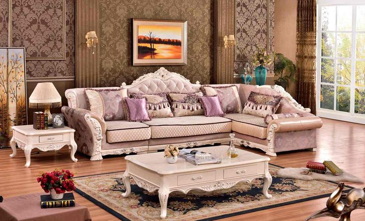 Leona Victorian Patterned Fabric 3Pc Sectional w/ Ivory Rich Wood Finish
