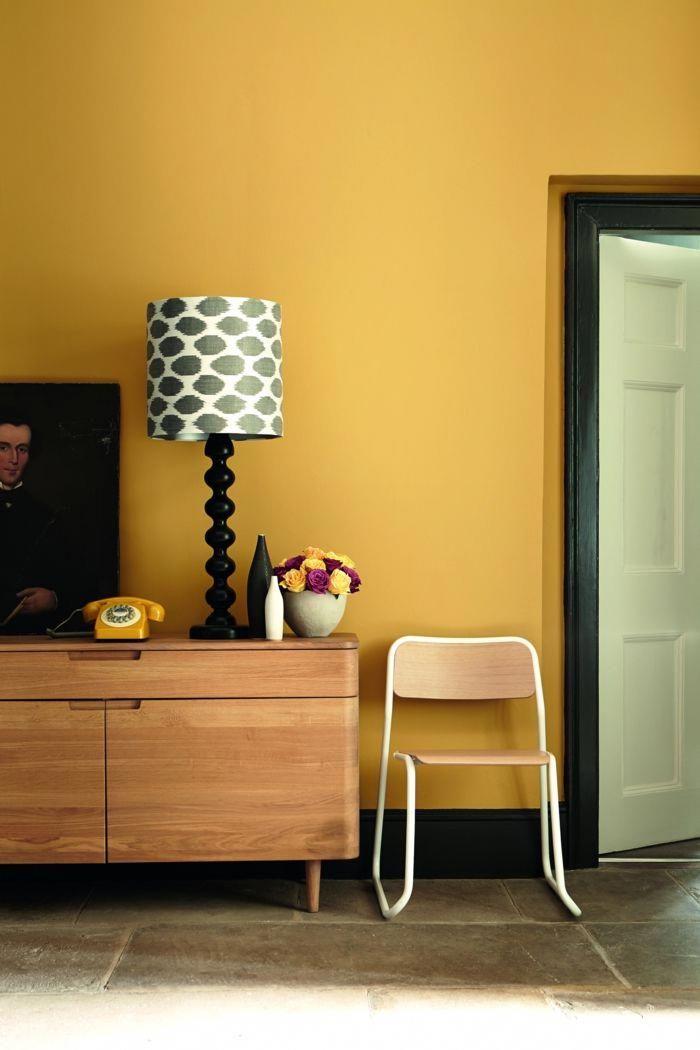 Colores calidos pared en color amarillo mostaza con for Aplicacion para decorar interiores