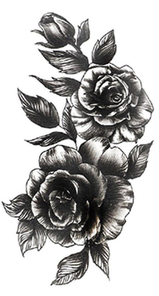 Idées de tatouage Rose Vintage pour les femmes – Cool réaliste fleuriste noir Flor Tat – w …   – Tattoo