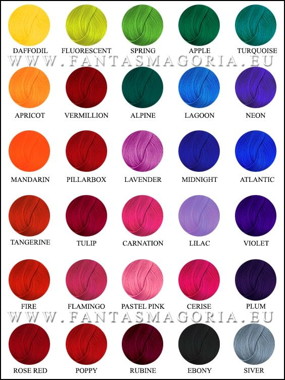 Updated Directions hair colour chart! Get your hairdye here: http://www.fantasmagoria.eu/accessories/cosmetics-makeup/hair-color/coloring-balsam