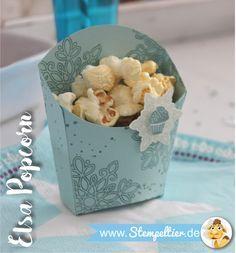 elsa frozen eiskönigin kindergeburtstag deko stampin up pommesschachtel fry box popcorn stempeltier