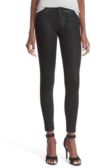 Hudson Jeans 'Krista' Super Skinny Jeans (Noir Coated) available at #Nordstrom
