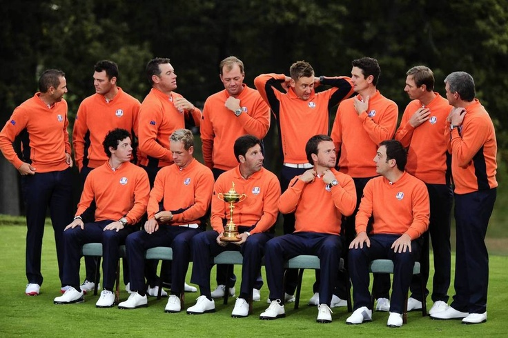 The European Ryder Cup Team prepare to pose for a group photo at Medinah Country Golf Club in Medinah, Ill., ahead of the 39th Ryder Cup. (L to R Top) Sergio Garcia of Spain, Martin Kaymer of Germany, Lee Westwood of England, Peter Hanson of Sweden, Ian Poulter of England, Justin Rose of England, Nicolas Colsaerts of Belgium, Paul Lawrie of Scotland. (L to R Bottom) Rory McIlroy of Northern Ireland, Luke Donald of England, Jose Maria Olazabal of Spain, Graeme McDowe