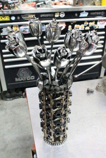 Metal art roses made from arp bolts Metalart motorsports racing welding cars metal art