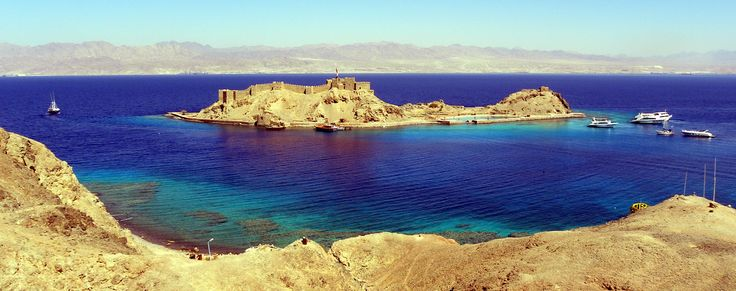 Panorama for Pharaoh Island and Salah El-Din Castel, Taba, Egypt
