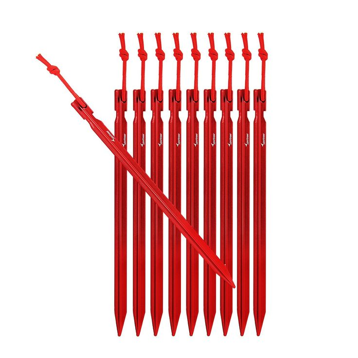Sportneer 10x Tent Stakes with Reflective Rope and Carrying Pouch, Red *** Check this awesome product by going to the link at the image.
