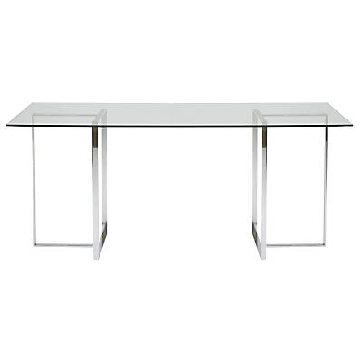 Buy John Lewis Staten 140 Clear Glass Top Desk with Steel Trestles online at JohnLewis.com - John Lewis