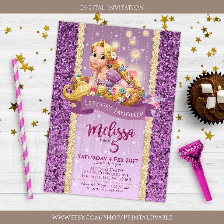 DIGITAL Rapunzel Invitation, Rapunzel Birthday Invitation, Rapunzel party, Rapunzel birthday, Rapunzel printables by Printalovable on Etsy https://www.etsy.com/listing/521763483/digital-rapunzel-invitation-rapunzel