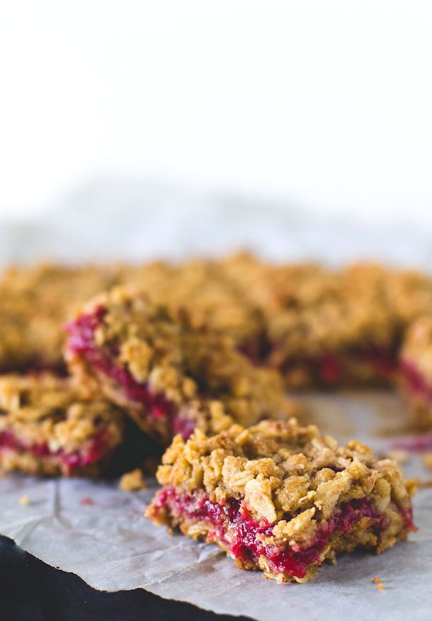 Raspberry Rhubarb Crumble Bars {naturally gluten-free, vegan}