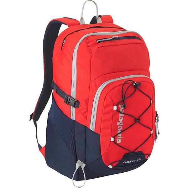 Patagonia Chacubuco Pack 32L Laptop Backpack (150 NZD) ❤ liked on Polyvore featuring bags, backpacks, laptop backpacks, red, laptop pocket backpack, padded backpack, strap backpack, patagonia and patagonia backpacks
