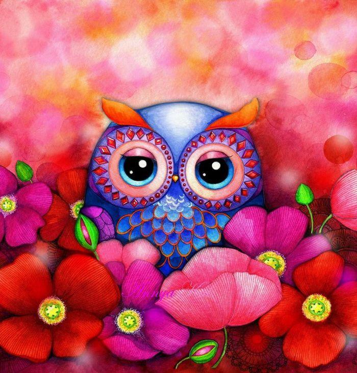 Картинка яркой совы