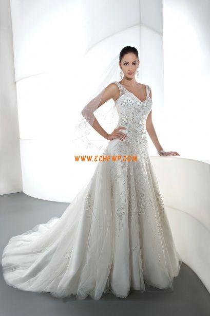 Corte Princesa Apliques Natural Vestidos de novias 2013