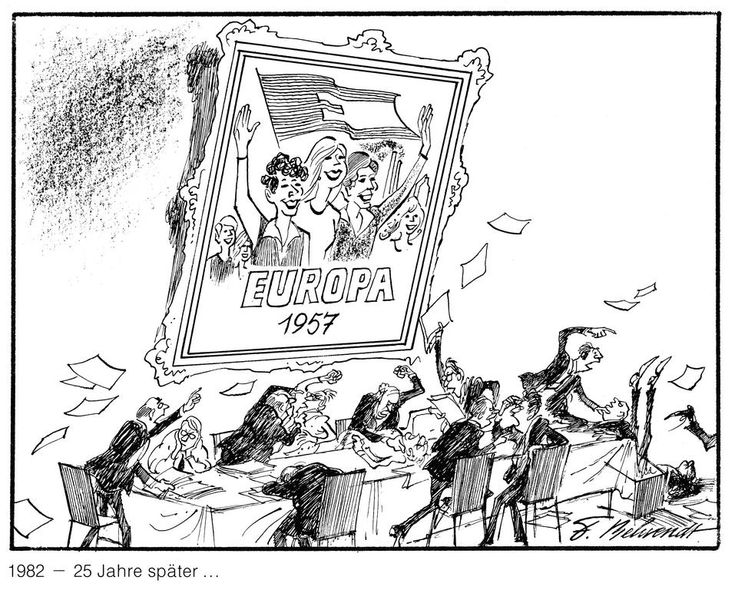 Cartoon by Behrendt on European cooperation (1982)  - '25 years after …' the creation of the European Economic Community, Europe's Community policy remains deadlocked.