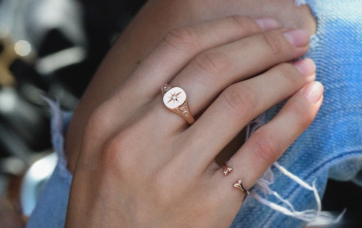 14kt gold and diamond vintage Starburst signet ring – Luna Skye by Samantha Conn