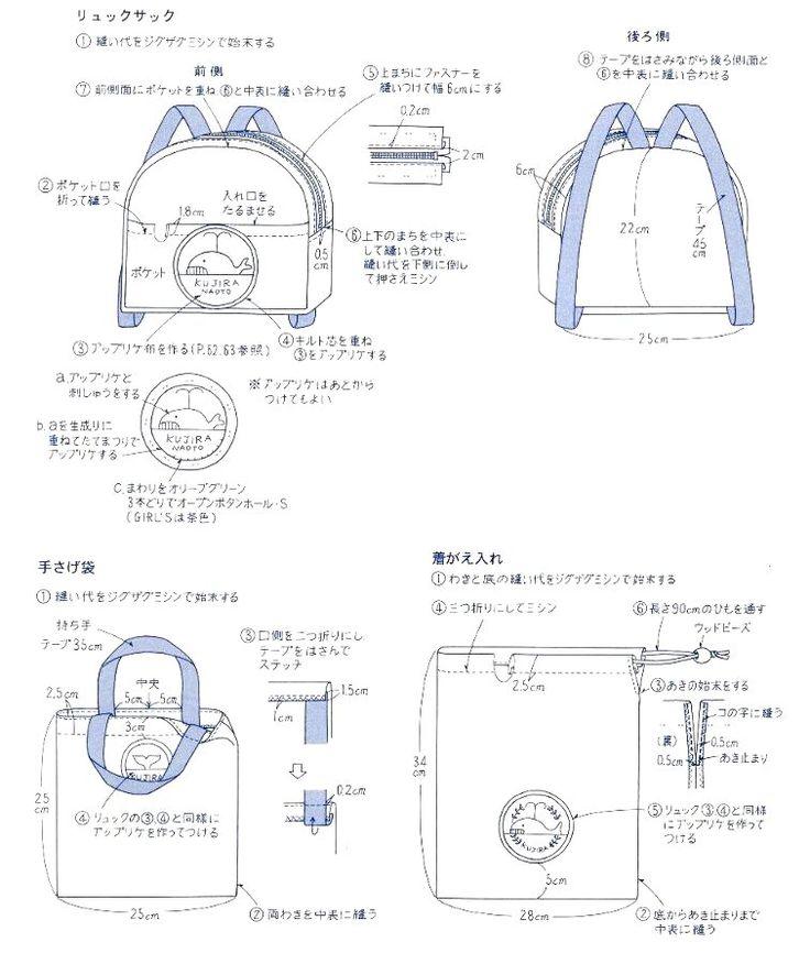 【楽天市場】ママ応援します!(HS)> 基本的な作り方・レシピ> リュックサック・手提げ袋・着替え袋の作り方:手芸のピロル                                                                                                                                                     もっと見る