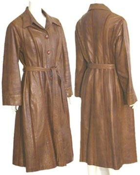 """1970s Vintage Long Leather Coat - I had a coat that looked just like this one! I remember one of my closest friends since Elementary school wrote on the tag of my coat, """"Donna loves David"""".  David and I had dated for several years. I remember seeing the tag for the first time and knowing exactly who the prankster was!  Wendy and I are still close and the best of friends. We are two of """"the fab five"""", as I like to call us.  I have no idea where David is, nor the coat.  giggles"""