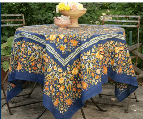 French Linen Table Cloths   Jardin In Navy