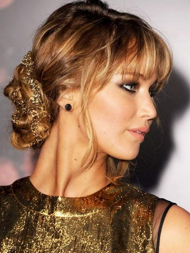 20 best wedding hair images on pinterest blonde fringe j law side bun with full fringe pmusecretfo Images