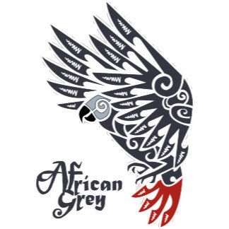 African grey parrot tribal tattoo