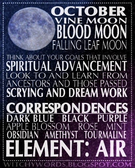 Information on the October full moon esbat. Enjoy!   For more esbat-related posts, including more of these graphics, click here!      C...