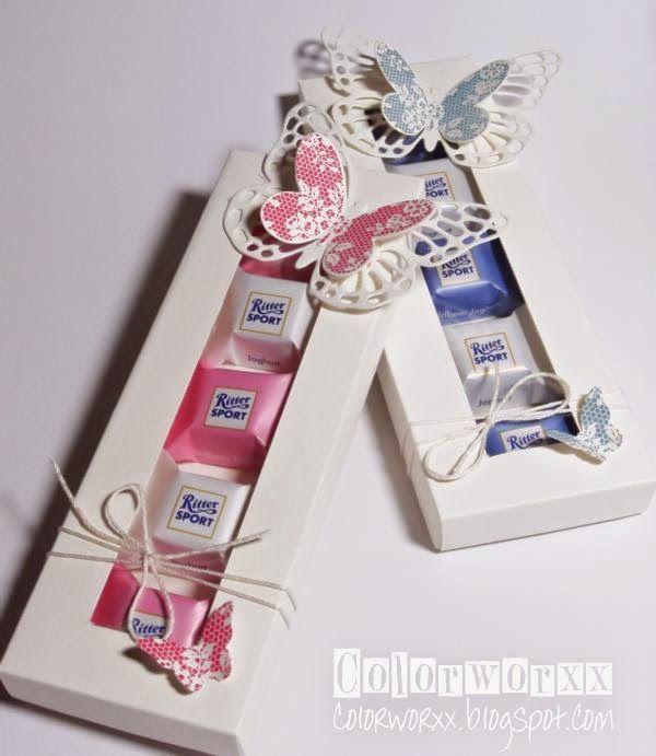 Colorworxx: Frühlingshafte Rittersport-Würfel-Verpackung mit Schmetterlingen von Stampin Up