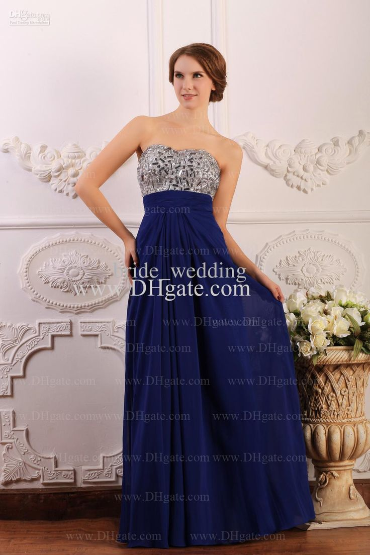 Silver And Blue Sweetheart Sexy Open Back Evening Dresses Party Dresses Chiffon Rhinestones Beading Formal Gowns, $129.97 | DHgate.com