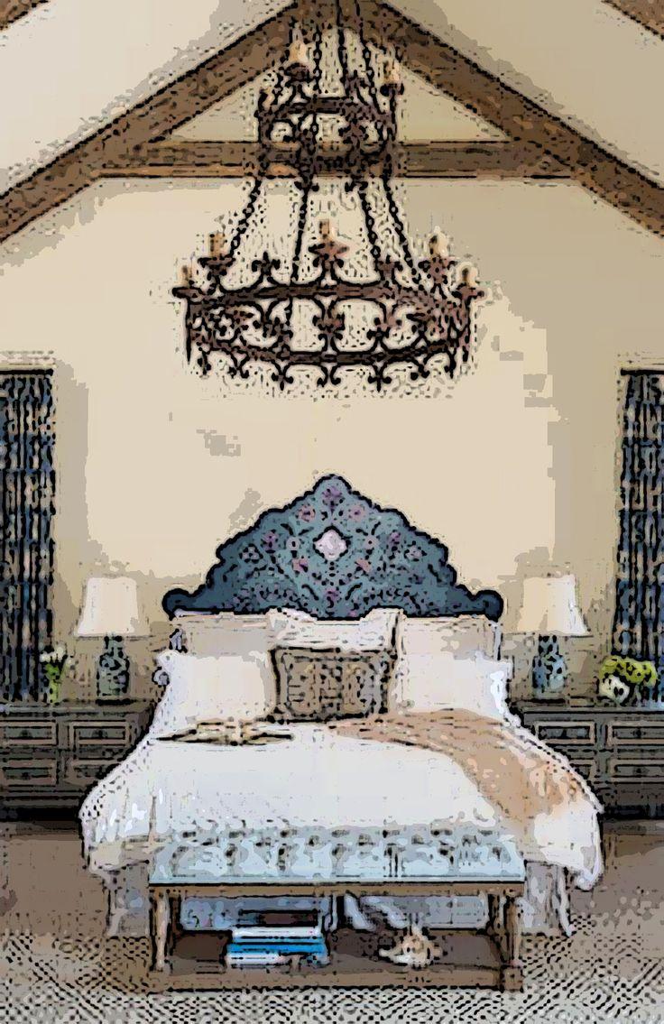 Spanish revival bedroom using anne winkler 39 s headboard for Spanish style bed