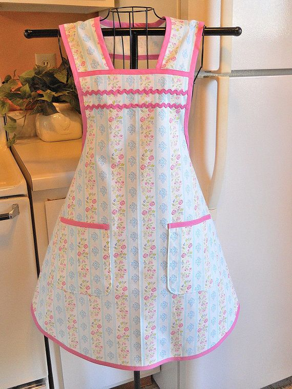 This Vintage Style Apron Is Done In A Design For A Wonderful Old Fashioned  Look. The Fabric Is A Blue And Pink Floral Stripe And Itu0027s Trimmed In Pink  Bias ... Part 39